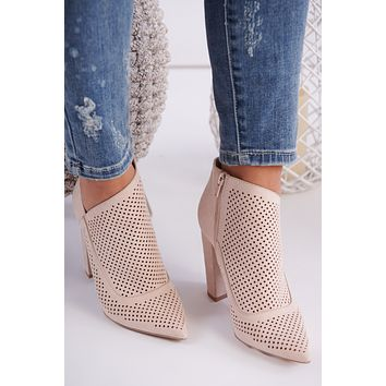 Stay Sassy Faux Suede Booties (Nude)
