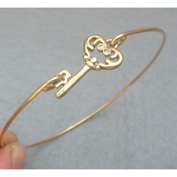 Key Brass Bangle Bracelet Style 6 by turquoisecity on Etsy