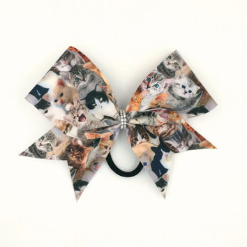 Meow Bow // Cheer Kitty // Cat bow // Kitty Bow // Cat Lover Gift // Stunt Group Cheer Bows // Cheerleader Gifts // Softball Bow