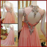 YZ Fashion Bridal Beads Crystal Pink Strapless A-line Diamond Dresses