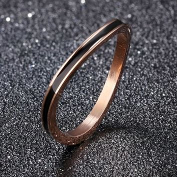 Fate Love Irregular Rose Gold Color Rings For Women Ultra Thin Black Groove 2 MM Width Finger Bands Party Prom Birthday Gift