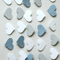 White, gray, and glitter paper heart garland, wedding, party, decoration