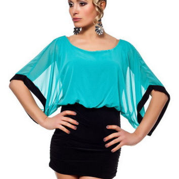 Green Flared Sleeve Blouson Mini Dress