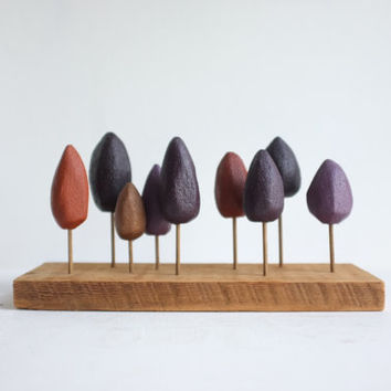 Tabletop forest in autumn colors - miniature trees in Aubergine and copper - small stand of fall trees