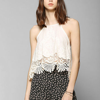 Kimchi Blue Esperanza Embroidered Halter Tank Top - Urban Outfitters
