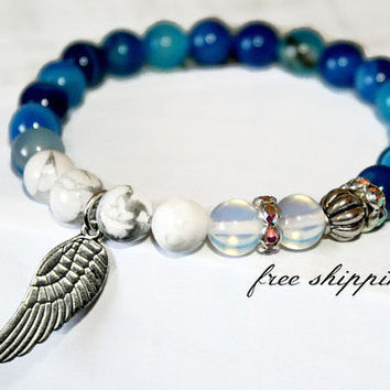 Blue Agate Archangel Healing Bracelet Mantra Spiritual Jewelry White Howlite Mala Beads Wing Charm Bracelet Prayer Gifts Meditation