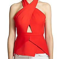 BCBGMAXAZRIA - Remmie Open-Back Peplum Halter Top - Saks Fifth Avenue Mobile