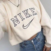 NIKE Fashion Long Sleeve Round Neck Cami Crop Top Sweater Pullover Sweatshirt