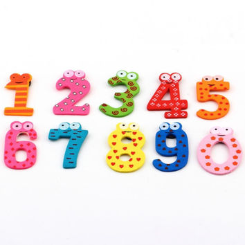 1set X mas Gift Set 10 Number Wooden Fridge Magnet Education Learn Cute Kid Baby Toy hot selling