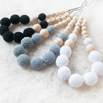 Black /Gray/ White /  Breastfeeding Necklac /Crochet Necklace /  Nursing / Eco-friendly jewellry / for moms and babies