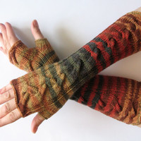 Fingerless Gloves Brown Beige Red Orange Yellow Green wrist warmers