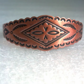 Vintage Bracelet - Copper Bracelet From Bell Trading Co. - Southwest Native American Design - Tribal Ethnic Look