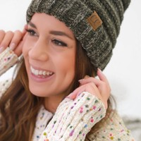 Fashionably Warm Beanie - Olive