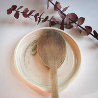 Ceramic Spoon Rest in White & Green Swirled Clay - Pottery Spoon Holder