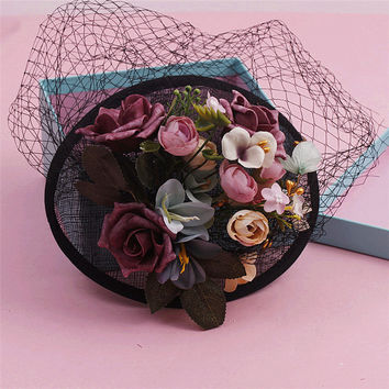 Korean Bride Sinamay Wedding Hat And Fascinator Handmade Fabric Flower Veil Hair Clip Vintage PartyFascinator WOmen Headwear New