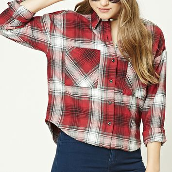 Boxy Flannel Plaid Shirt