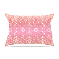 "Suzie Tremel ""Medallion Red Ombre"" Pink Pillow Case"