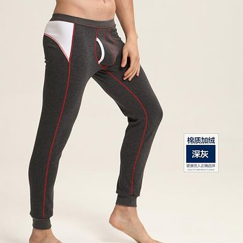 Men's fashion winter warm underpants cotton slim fit stretch leggings tight long johns for men velvet inside