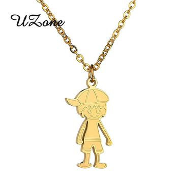 UZone Boy Family Necklaces Love Boy Pendants Gold Color Stainless Steel Necklace Kids Jewelry For Birthday Gifts
