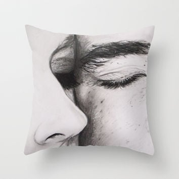 Couples Eyes Drawing Throw Pillow by Morgan Digangi Art