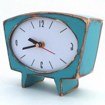 Desk Clock turquoise / brown, Vintage 60s style, Unique Gift Clock, Table clock,