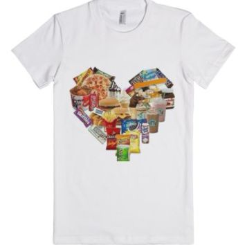 Junk Food Heart-Female White T-Shirt