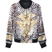 Women Autumn Euro Style Leopard Blends Scoop Long Sleeve Zipper Jacket Short Coat S/M@WY2218 $33.99 only in eFexcity.com.