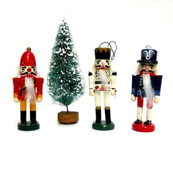 3 Wood Soldier Ornaments Nutcracker Style 1960s Hand Painted Christmas Tree Decor