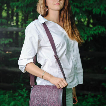 Women's purse Leather bag Genuine leather purse Crossbody bag Shoulder bag Violet bag Leather messenger bag Tooled leather  Man's bag Unisex