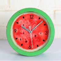 Fruits Watermelon Vintage Weathered Pastoral Style Stylish Creative Quiet Clock [6282292998]