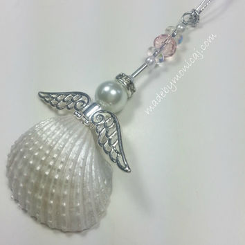 Rear View Mirror Ornament.  White Ark Beach Angel Window Charm with Light Pink Crystal.