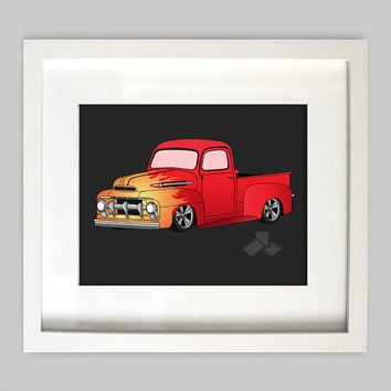 Red 51 Ford Truck 8x10 Old Truck Illustration for Boys Room Decor, Nursery Wall Art, Boys Room Art, or Toddler Boys Room(Digtial Download)