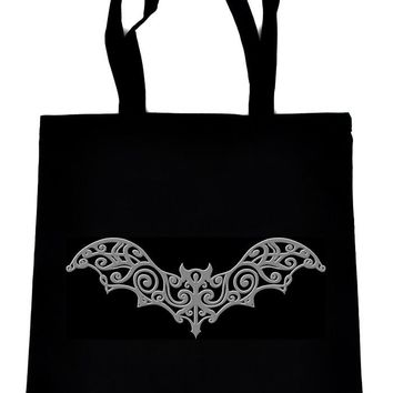 Gothic Wrought Iron Vampire Grey Bat Black Tote Book Bag Elegant Halloween Handbag