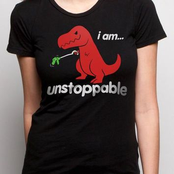 "Black Dinosaur ""I am unstoppable"" Print Casual Cute T-Shirt"