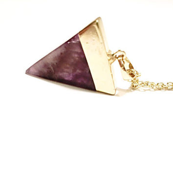 Amethyst Necklace, Amethyst stone, Natural stone Necklace, Amethyst Triangle, Triangle Necklace, Purple Necklace, Amethyst Pendant, gemstone