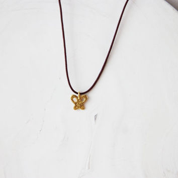 Gold butterfly pendant, solid, 18k gold, tiny butterfly pendant on brown cord, teens and girls butterfly necklace, tiny, 18k gold butterfly