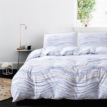 Blue Wave Duvet Cover Set 3 Pieces Soft Microfiber Polyester Bedding Set