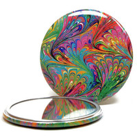Marbled Pocket Mirror no.1 Rainbow Marbled Paper Small Glass Mirror