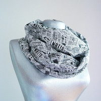 Handmade Newspaper Infinity Scarf - Cotton - Black White - 4 Season Scarf