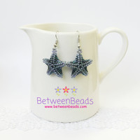 Starfish Earrings, Starfish Dangle Earrings, Starfish Jewelry, Ocean Summer Fish, Blue Starfish Accessories, Beach, Starfish Drop Earrings