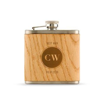 Personalized Wood Flask - Etched Circle Monogram (Pack of 1)