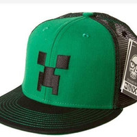 Officially Licensed | MINECRAFT SNAP BACK HAT | Green/Black Creeper Face Cap | M/L | 56cm