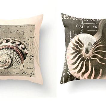 Under the Sea Set of 2 decorative throw pillows peach pink taupe sand beach coastal decor vintage seashells spring accent cushions