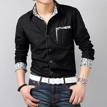 Men Shirts Turn-down Collar Slim Fit Oversized 8XL Chemise Homme Patchwork Pocket Button-up Summer Long Sleeve Casual Shirt