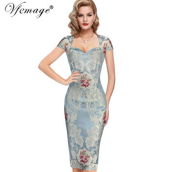 Vfemage Womens Sexy Elegant 3D Flower Jacquard Fabric Casual Party Evening Mother of Bride Special Occasion Bodycon Dress 6522