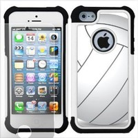 One Tough Shield Dual Layer Case (Volleyball) with Clear Screen Protector for Apple iPhone 5