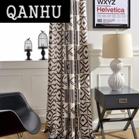 QANHU European style Blackout Jacquard Curtains for Bedroom Tulle Geometric Curtains Sets for living Room Window Curtains #A-19