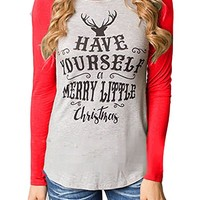 OURS Women Long Sleeve Christmas Reindeer Printed Sweatshirt Blouse T-shirt Tops (M, red)