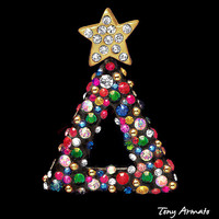 Multi Crystal Christmas Tree Pin • CLASSIC In Black With Multi-Color Swarovski Crystals • Dont Miss This • A MUST For Holiday Pin Collector
