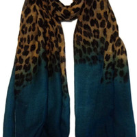 Ombre Leopard Print Hijab Scarf - Turquoise